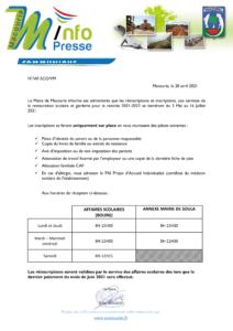 communiqué INSCRIPTION cantine 2021-2022-1