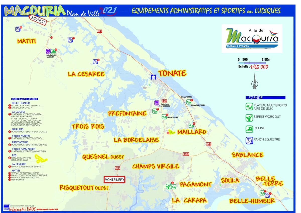 Cartographies des équipements sur le territoire de Macouria